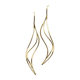 Tiffany & Co. Peretti 18K Yellow Gold Wave Drop Dangle Earrings