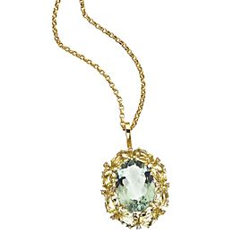 Vainna Madame 18K Yellow Gold Green Quartz & 0.10ct Diamond Pendant Necklace