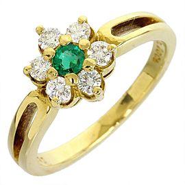 Mikimoto 18K Yellow Gold 0.34 Ct Diamond & Emerald Size 4.75 Ring