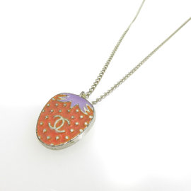 Chanel Silver Tone Metal Strawberry Necklace