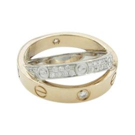 Cartier Love 18K White & Pink Gold Diamond Ring Size 4