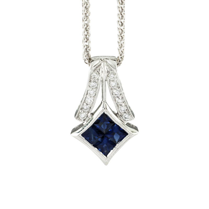 "Image of ""Simon G. 18K White Gold with Sapphire and Diamond Pendant Necklace"""