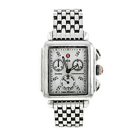 Michele Deco Diamond Mother-Of-Pearl & Stainless Steel Chronograph Bracelet Watch