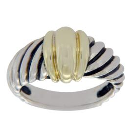 David Yurman 925 Sterling Silver & 14K Yellow Gold Ribbed Cable Ring Size 6