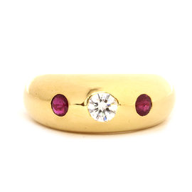 Cartier 18K Yellow Gold Diamond Pink Sapphires Ring Size 6