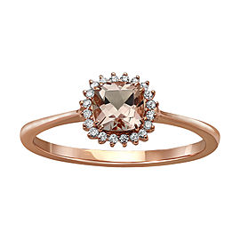 10K Rose Gold Morganite and Diamond Ring Size 8