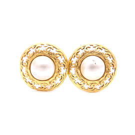 Chanel Gold Tone Metal Faux Pearl Earrings