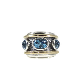David Yurman Sterling Silver and 14K Yellow Gold Blue Topaz Renaissance Cigar Ring Size 6.75