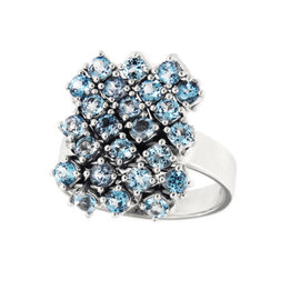 Salavetti 18K White Gold & Blue Topaz Cocktail Ring Size 6.5