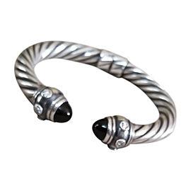 David Yurman Sterling Silver Renaissance Onyx Hematite and Diamond Cable Cuff Bracelet