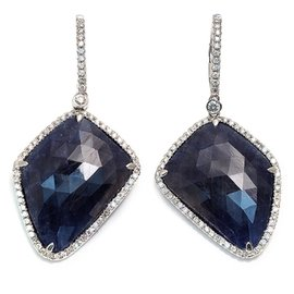 14K White Gold Rose Cut Sliced 38ct Natural Blue Sapphire & 0.85ct Diamond Earrings