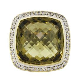 David Yurman Albion 925 Sterling Silver and 18K Yellow Gold Lemon & Quartz Ring Size 6