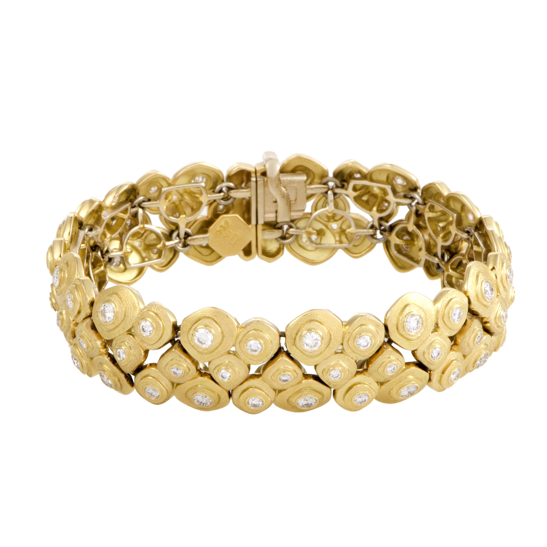 "Image of ""Alex Sepkus 18K Yellow Gold with Diamond Studed 3-Row Pebble Bracelet"""
