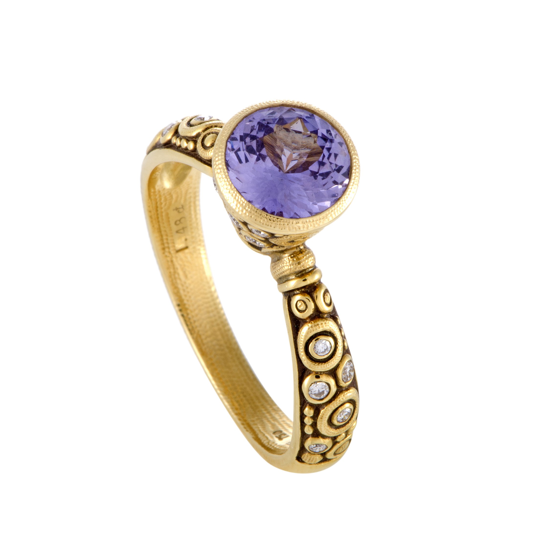"Image of ""Alex Spekus Martini 18K Yellow Gold Diamond and Amethyst Ring Size"""