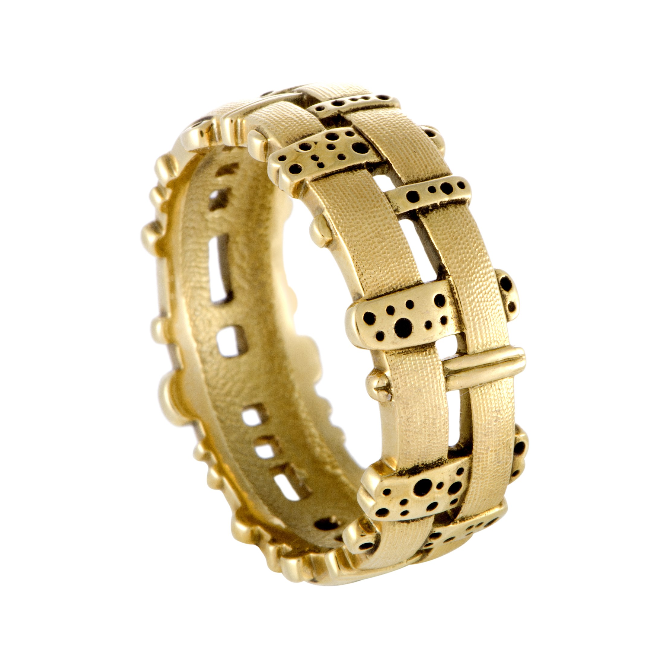 "Image of ""Alex Sepkus Woven Fence 18K Yellow Gold Band Ring Size 11"""