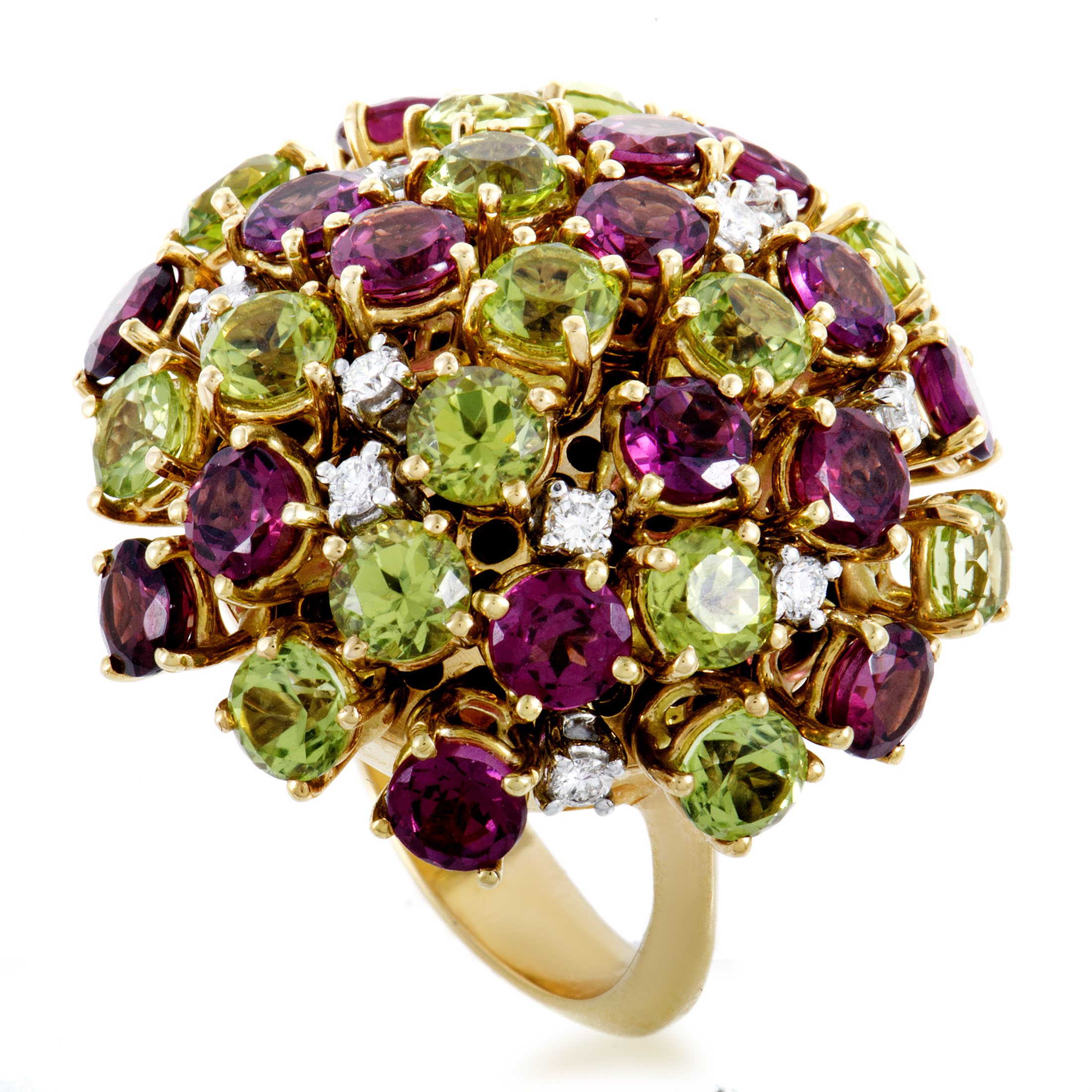 "Image of ""Alfieri & St. John 18K Yellow Gold Diamond Tourmaline and Peridot Ring"""