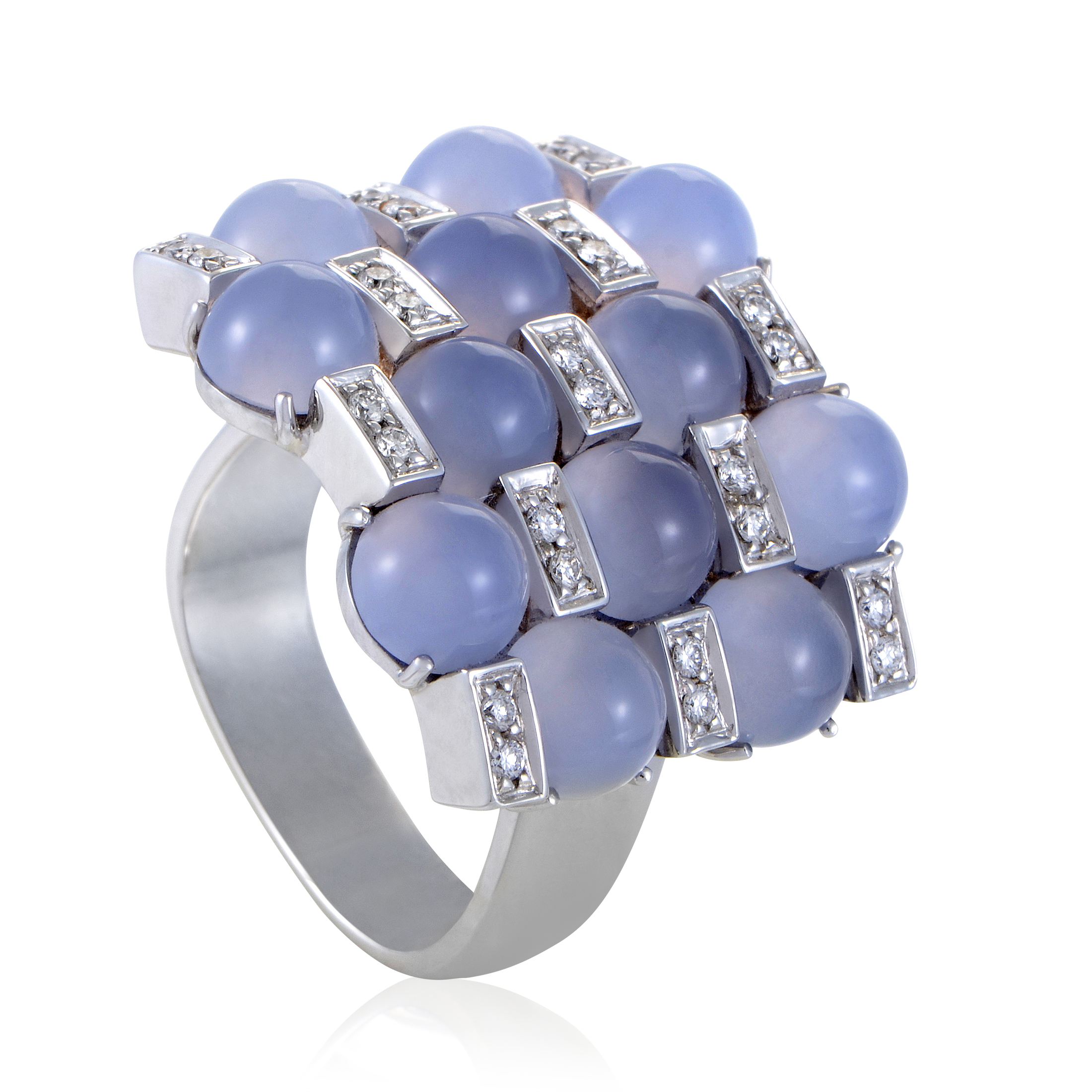 "Image of ""Alfieri & St. John 18K White Gold Diamond and Blue Chalcedony Ring"""