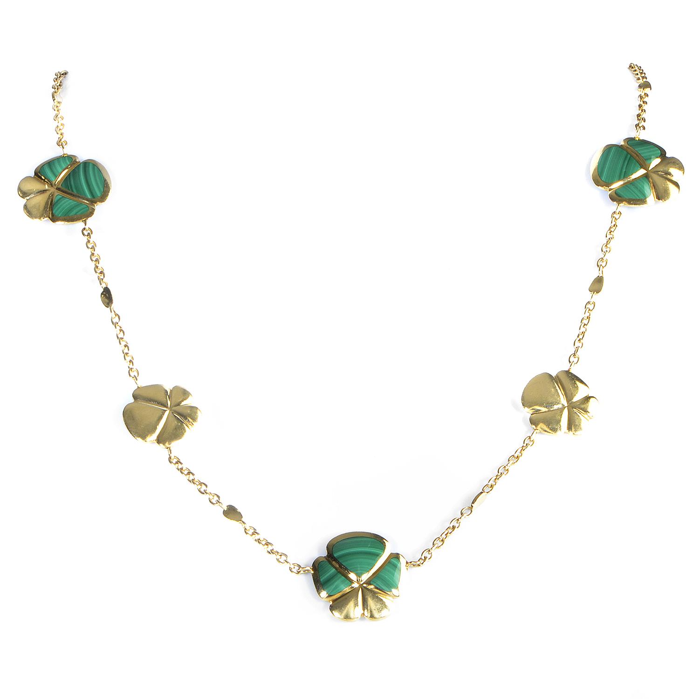 "Image of ""Ambrosi 18K Yellow Gold Malachite Flowers Necklace"""