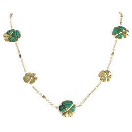 Ambrosi 18K Yellow Gold Malachite Flowers Necklace