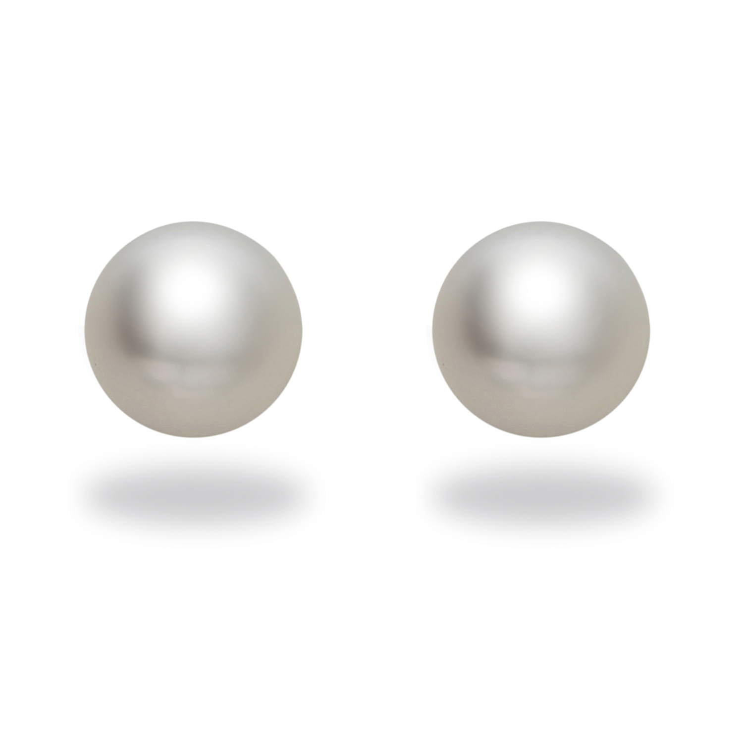 "Image of ""14k White Gold Natural Color White South Sea Pearl Stud Earrings"""