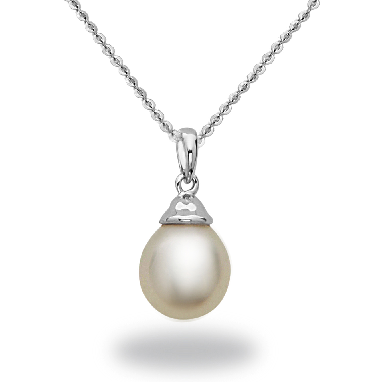 "Image of ""14k White Gold Natural Color White South Sea Pearl Pendant Necklace"""