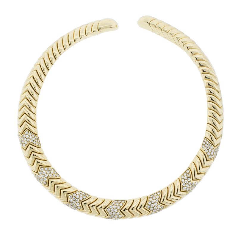 "Image of ""Bvlgari 18K Yellow Gold Spiga Diamond Necklace"""