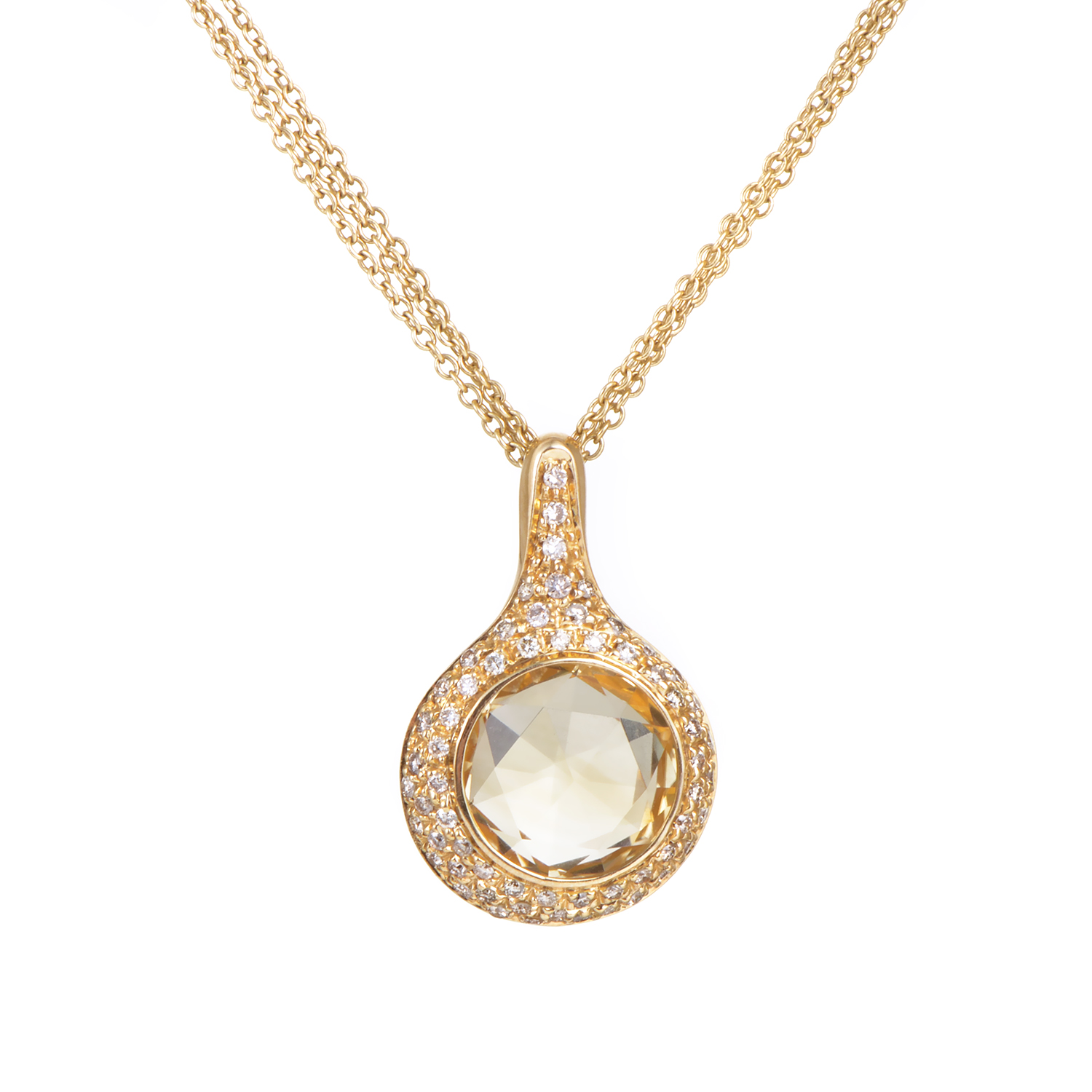 "Image of ""Antonini 18K Yellow Gold 0.65ct Diamond & Citrine Pendant Necklace"""