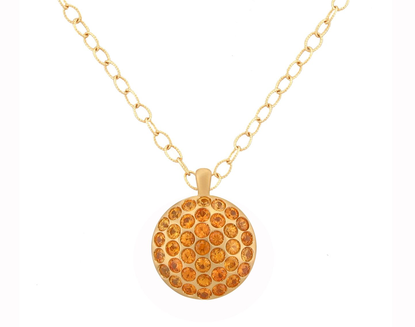 "Image of ""Large Orange Sapphire Pave Sizzle Pendant 18"""