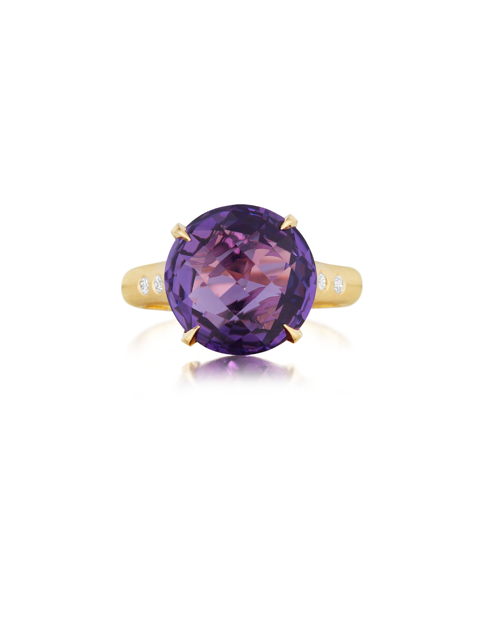 "Image of ""Round Amethyst and Diamond Signature Ring"""