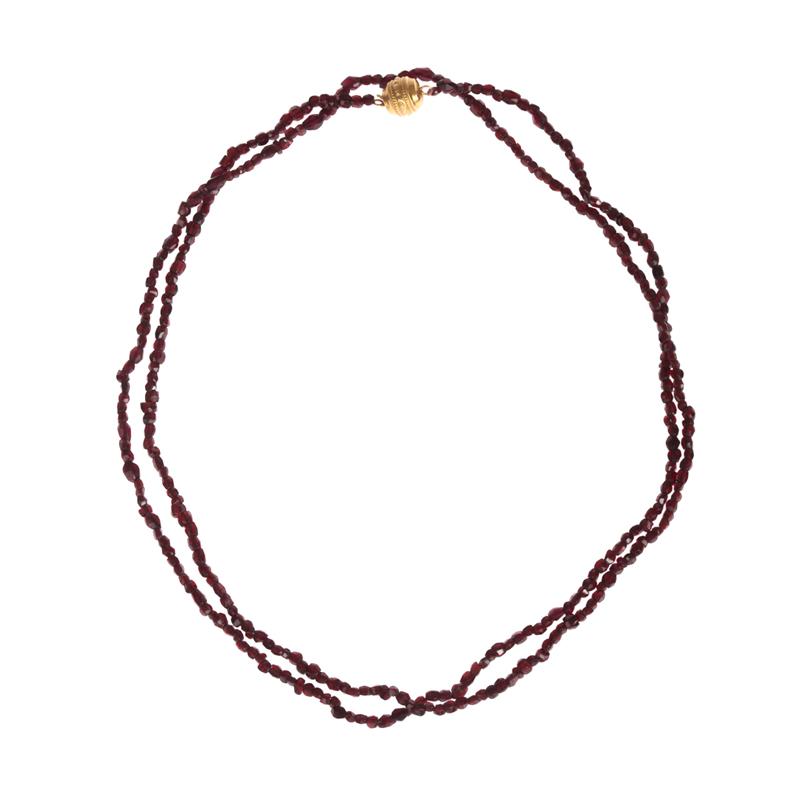 "Image of ""Bohemian Red Garnet Rose Cut Bead Necklace"""