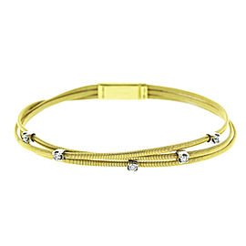 Marco Bicego 18k Yellow Gold and Diamond 3 Row Cable Bracelet