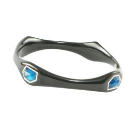 IPPOLITA Black Resin Sterling Silver Aqua Blue Azure Bangle Bracelet