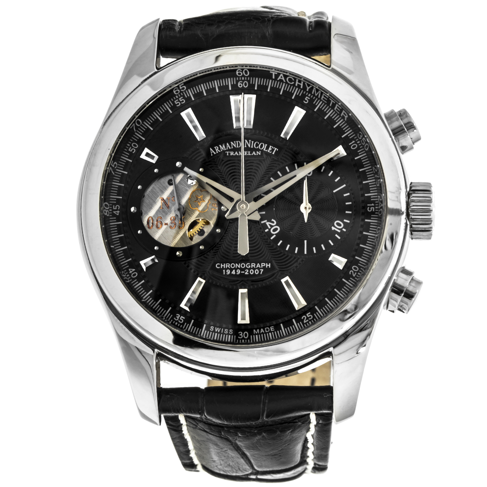"Image of ""Armand Nicolet L07 9649A-Nr-P964Nr2 Stainless Steel Black Dial 43mm"""