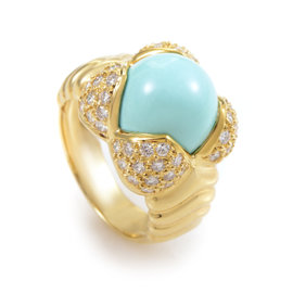 Arrezo 18K Yellow Gold Turquoise and Diamond Ring