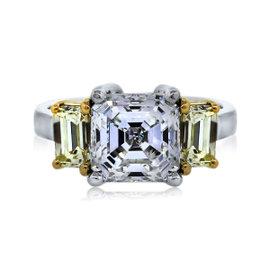 Platinum & 18K Yellow Gold Diamond Engagement Ring Size 4.75