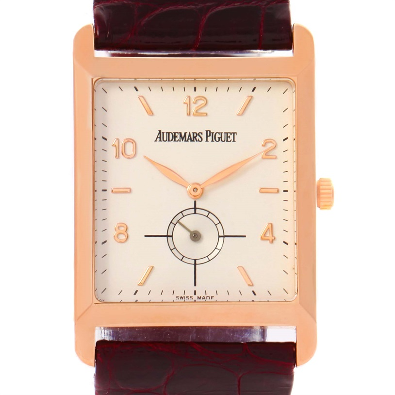 "Image of ""Audemars Piguet 18K Rose Gold & Leather Manual 25mm Mens Watch"""