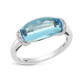 10k White Gold 4.02ct. Diamond & Oval Blue Topaz Cocktail Ring Size 6.25