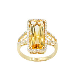 18K Yellow Gold 5.0ct Citrine and 0.50ct Diamond Ring Size 7.5