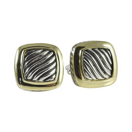 David Yurman 925 Sterling Silver 18K Yellow Gold Carved Cable Albion Earrings