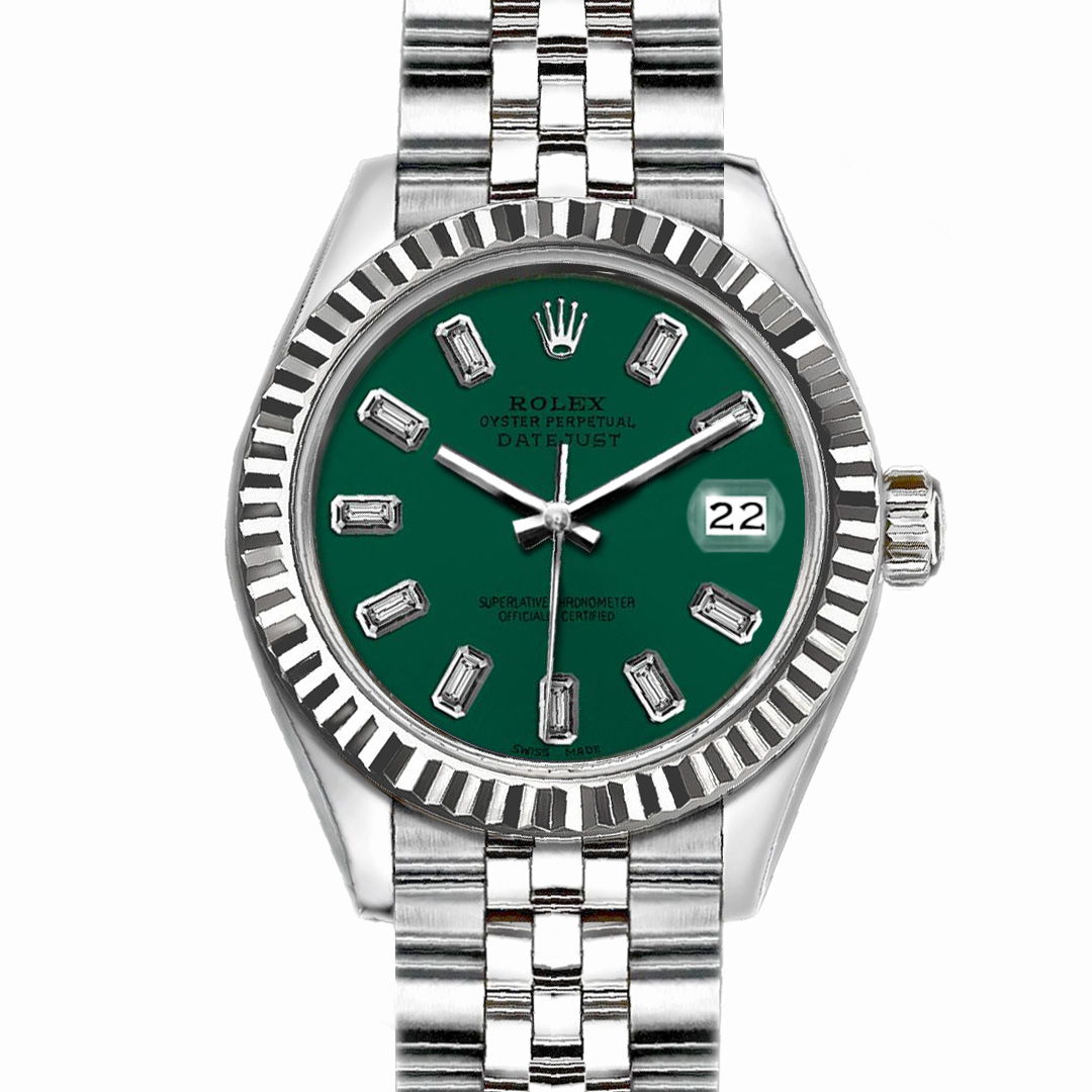 """Image of """"Rolex Datejust Stainless Steel with Dark Green Dial 26mm Womens Watch"""""""