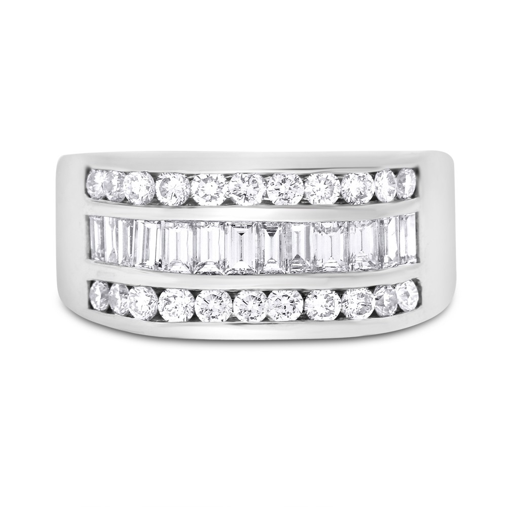 """Image of """"14k White Gold 2.66ct. Diamond Baguette & Round Mens Statement Ring"""""""