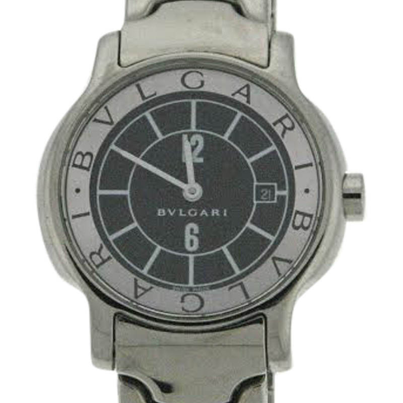 "Image of ""Bvlgari Solotempe St 29 S Stainless Steel Black Dial Bracelet Watch"""