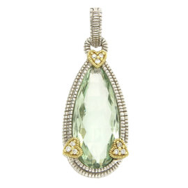 Judith Ripka 925 Sterling Silver & 18K Yellow Gold Diamond & Green Quartz Pendant