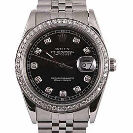 Rolex Datejust 3035 Stainless Steel & 18K White Gold Diamond 36mm Watch