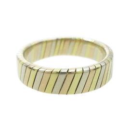 Bulgari 18K Yellow, White and Pink Gold Tubogas Ring Size 4.5