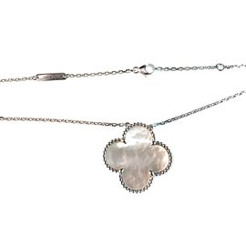 Van Cleef & Arpels 18k White Gold Magic Alhambra Mother of Pearl Necklace