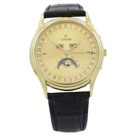 Concord Classic 18k Yellow Gold Complete Calendar Moonphase 34mm Watch