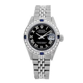 Rolex Datejust 6917 Stainless Steel & Black Roman Numerals Dial 26mm Womens Watch