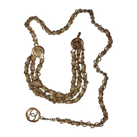 Chanel Gold Plated & Beige Leather Monogrammed Coin Triple Strand Necklace