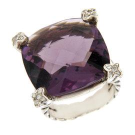 David Yurman 925 Sterling Silver Amethyst and Diamond Ring Size 6.5